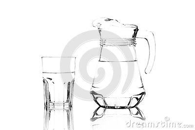 Glass and Glass Pitcher