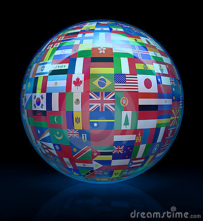 Glass globe with flags around