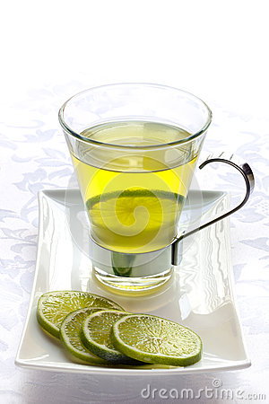 Glass of Green Tea with Lime