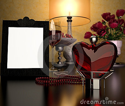 Glass heart, frame and a glass of wine
