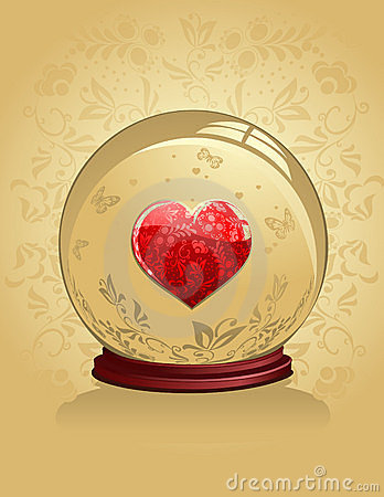 Glass Heart with gold ornaments