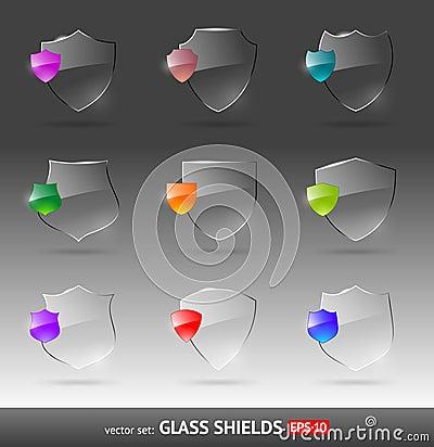 Glass heraldic shields