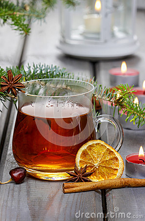 Glass of hot steaming tea