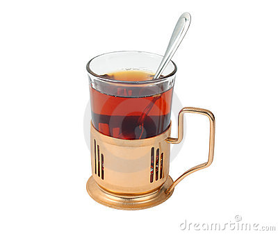 Glass of hot tea  in glass-holder