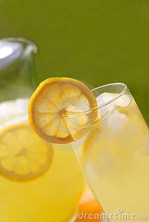 A glass of ice cold lemonade