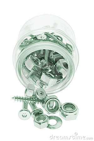 Glass Jar with Bolts and Nuts