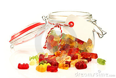 Glass jar with colorful sweets