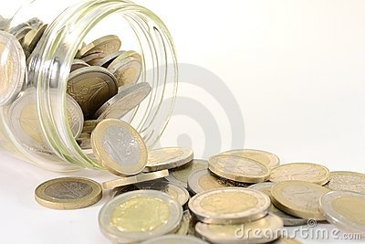 Glass jar with euro coins
