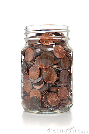 Glass Jar Full Of Coins Stock Photo - Image: 11373680
