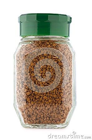 Glass jar of instant coffee