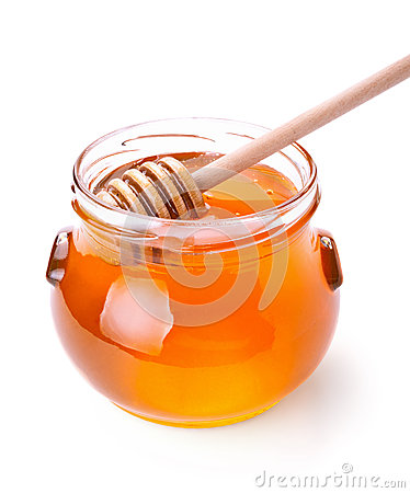 Free Glass Jar Of Honey With Wooden Drizzler Royalty Free Stock Photo - 27967105