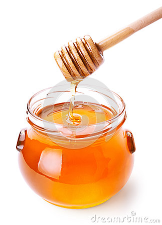 Free Glass Jar Of Honey With Wooden Drizzler Stock Photo - 27967110