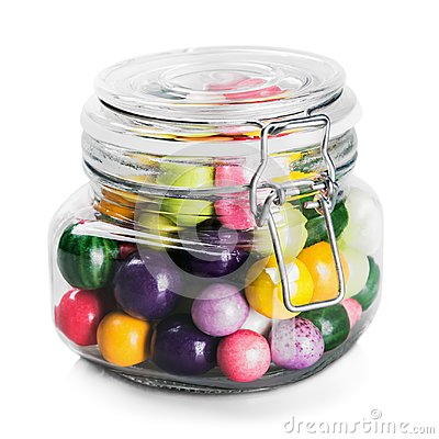 Free Glass Jar With Multicolored Candies Isolated On White Royalty Free Stock Photos - 115447288