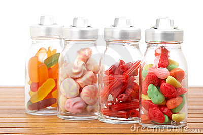 Glass jars of candies