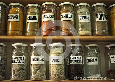 Glass jars with herbs essences and minerals