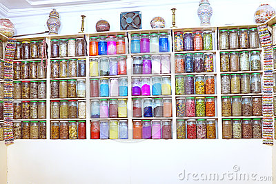 Glass Jars in a Moroccan Spice Shop, Marrakesh