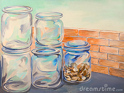 Glass jars oil painting