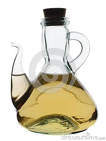 Glass jug with white wine vinegar