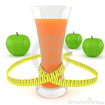 Glass of juice, apples and measuring tape