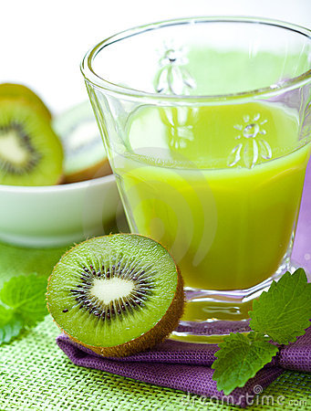 Glass of kiwi fruit juice