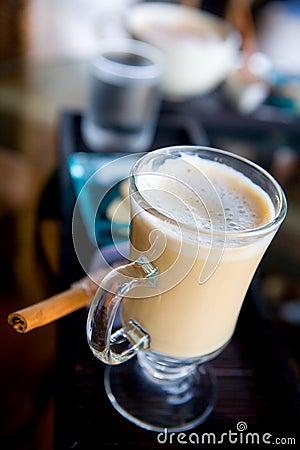 Glass of latte coffee