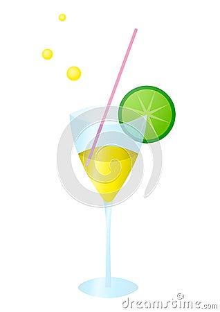 Glass with lemonade a kiwifruit