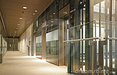 Glass lift lobby