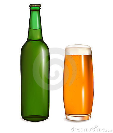 Glass of light beer with bottle. Vector