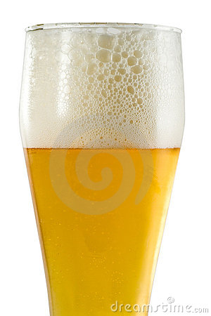 Glass of light beer with foam
