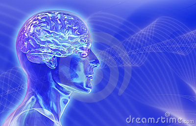 Glass Male Head with Brain on Brainwaves Background
