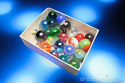 Glass Marbles in Box