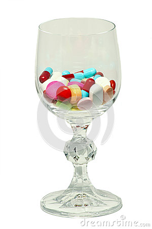 Glass of medicines