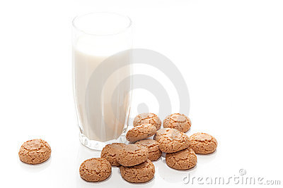 Glass of milk with biscuits