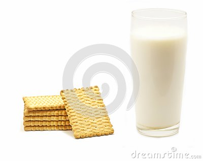 A glass of milk and biscuits