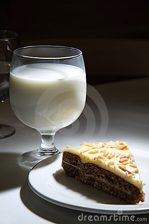 Glass of milk and a piece of cake
