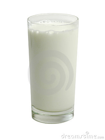 Glass of milk on white