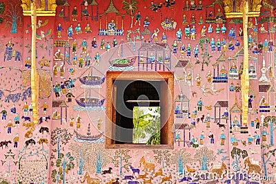 Glass mosaic at wat xieng thong temple wall, Laos