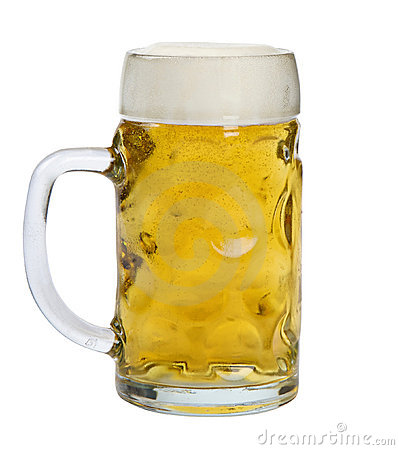 Glass mug of lager beer