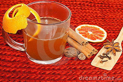 Glass of mulled wine on woven