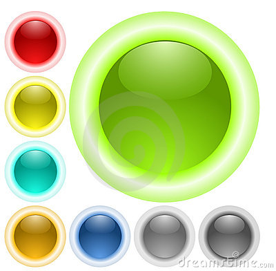 Glass neon glow buttons