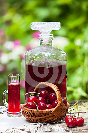 Free Glass Of Cherry Brandy Liqueur Royalty Free Stock Image - 72501236