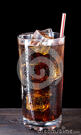 Free Glass Of Cola With Ice Stock Photography - 40506432