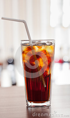 Free Glass Of Cola With Ice On The Bar Stock Photos - 75979973