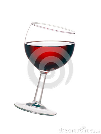 Free Glass Of Red Wine, Tilted, Isolated On White Background. Stock Image - 43393041