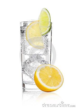 Free Glass Of Sparkling Water Soda Drink Lemonade Stock Photos - 104636083