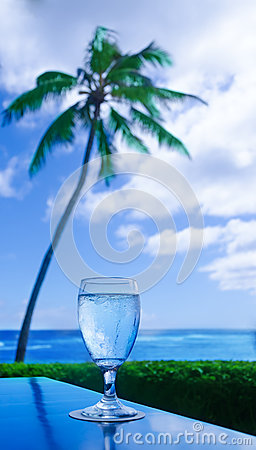 Free Glass Of Waterl On The Table By The Ocean Royalty Free Stock Photography - 36531167