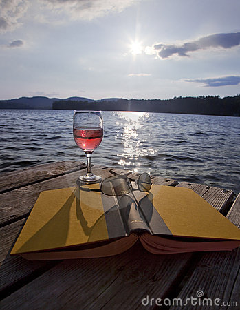 Free Glass Of Wine, Book, And Glasses At Lake Royalty Free Stock Image - 11234566