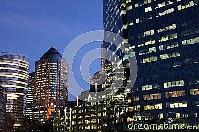 Glass office blocks at dusk