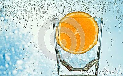 Glass with orange