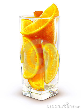 Glass with orange fruits